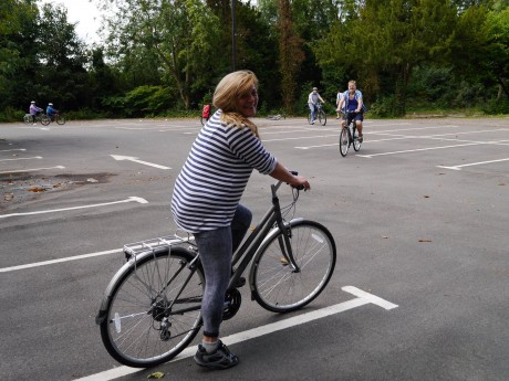 One to One Cycling Training. Women on bike in training ground