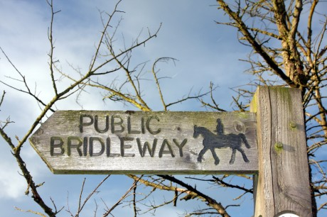 Bridleways. Wooden bridleways sign