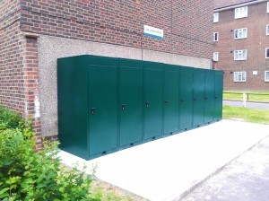 Housing estates. Vertical-bike-lockers