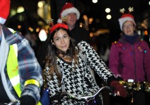 Parade of Lights. Group of cyclists