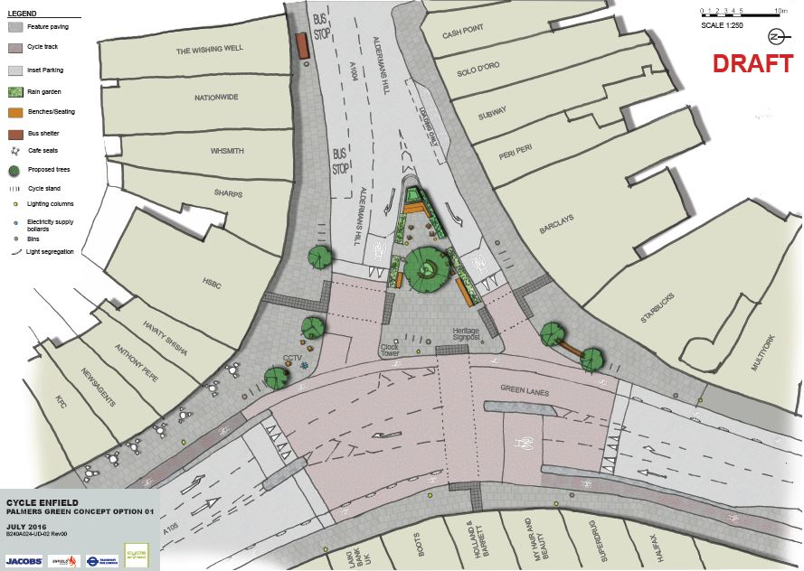 Plan layout of the area showing feature tree with surround seating, rain gardens forming an edge to the space, a mixture of seating including stepped, cube and benches with backs and arms. Space is also included to illustrate some of the history of the area. A new crossing is provided across Green Lanes.
