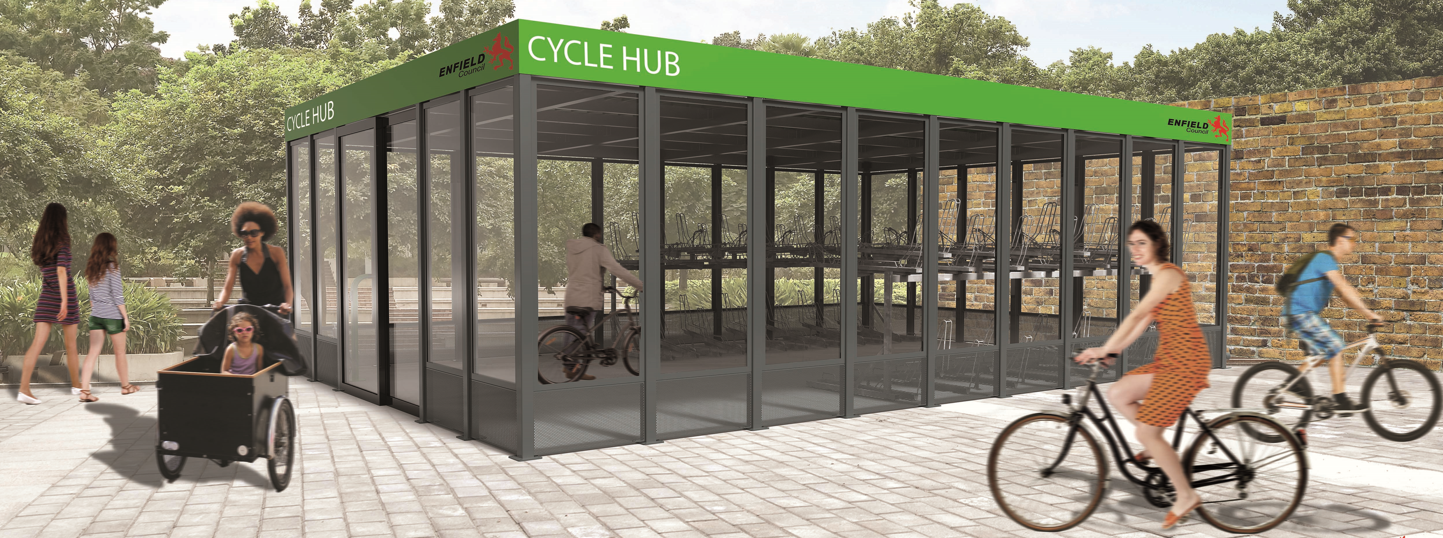 Cycle hub secure cycle parking at stations